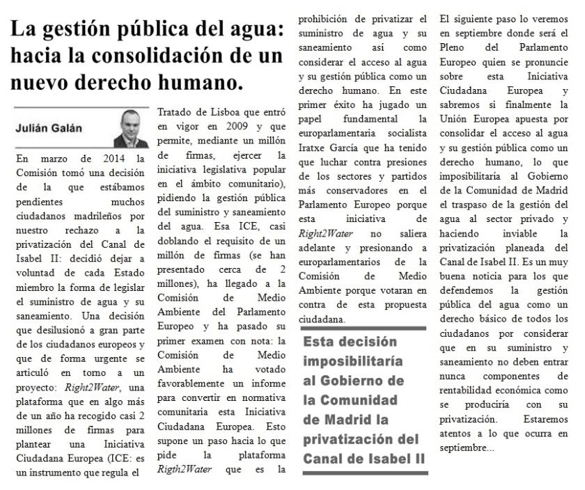 Artículo sobre Gestión pública del agua