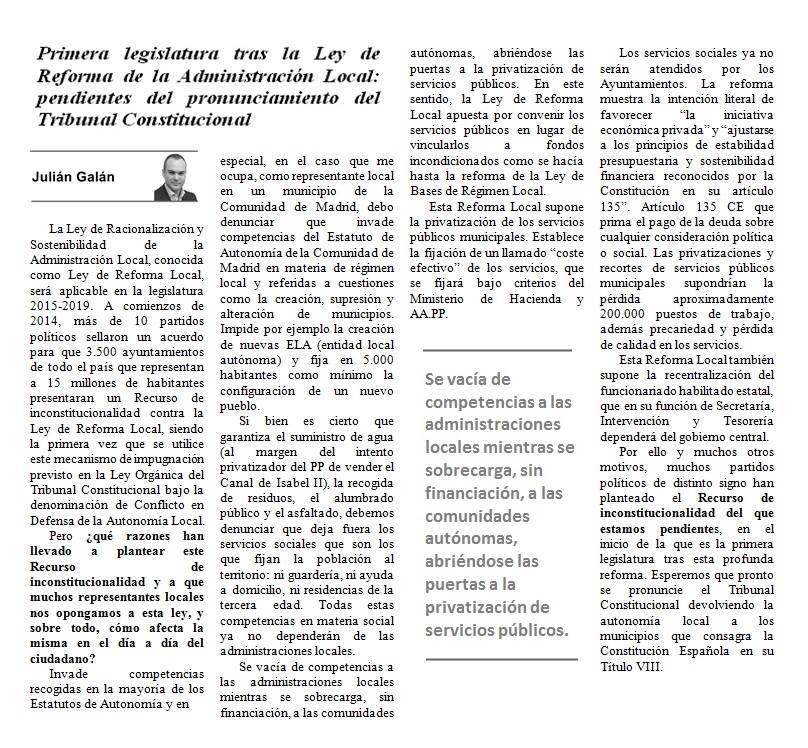 Artículo sobre Ley de Reforma de la Admon Local